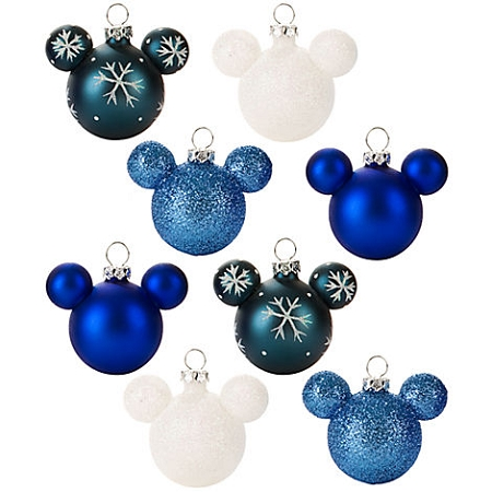 Disney Ornament Set - Mickey Mouse Ears - Mini Blue SnowFlake