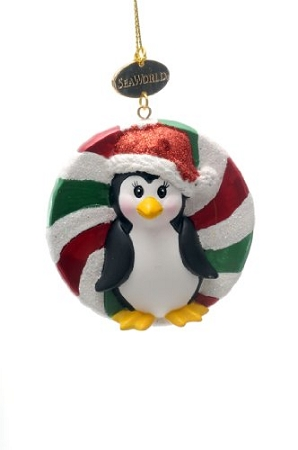 Sea World Christmas Ornament - Penguin Candy - Resin