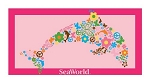 Sea World Beach Towel - Dolphin Flower - Pink