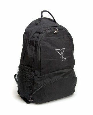 Sea World Backpack Bag - Silver Whale Tail Logo - Black