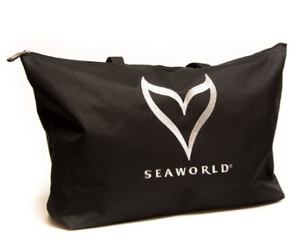 Sea World Tote Bag - Silver Whale Tail Logo - Black