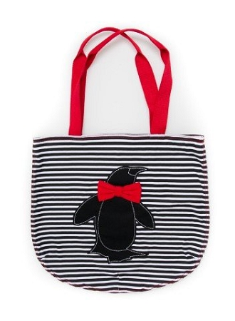 Sea World Tote Bag - Penguin with Bow Tie - Striped