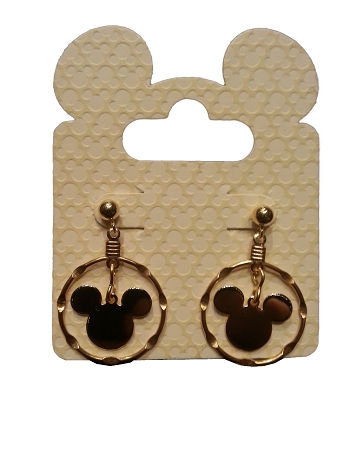 Disney Dangle Earrings - Mickey Mouse Icon - Double Gold