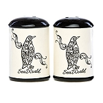 Sea World Salt & Pepper Set - Penguin Swirl - Black and White