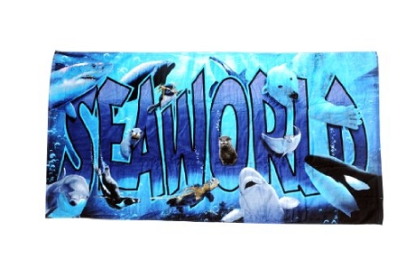 Sea World Beach Towel - Block Letters and Animals