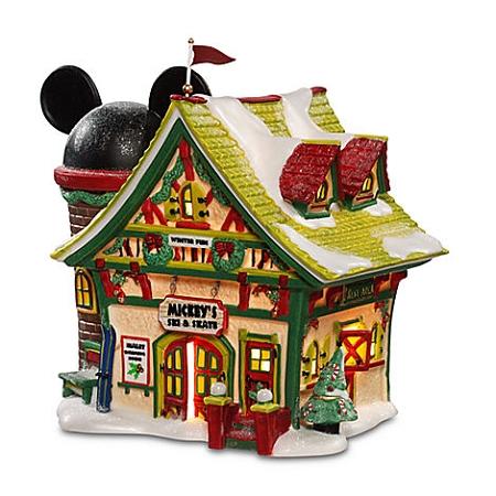 disney christmas village mickeys ski and skate chalet light up building