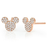 Disney CRISLU Stud Earrings - Mickey Mouse Icon - Rose Gold