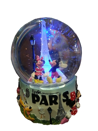 Disney Snow Globe - Mickey and Minnie Mouse Eiffel Tower - Light Up