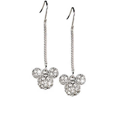 Disney Arribas Earrings - Mickey Mouse Icon Herringbone Chain