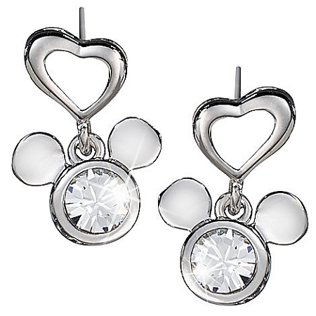 Disney Arribas Earrings - Dangling Heart with Mickey Mouse Icon