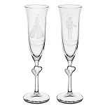 Disney Glass Flute Set - Personalizable Cinderella and Prince Charming by Arribas -- 2-Pc.