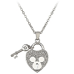 Disney Arribas Necklace - Mickey Mouse Heart and Key - Crystal