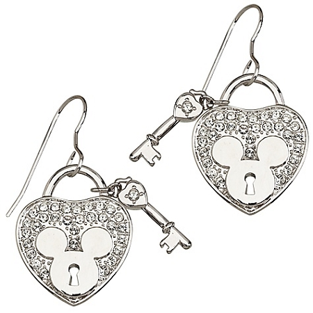 Disney Arribas Earrings - Mickey Heartlock and Key - Crystal Heart