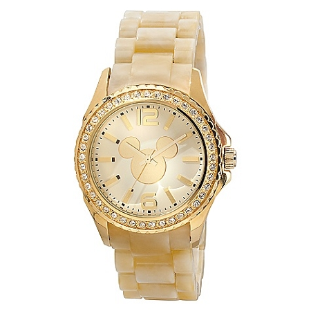 Disney Wrist Watch - Gold Crystal Link Mickey Mouse for Women