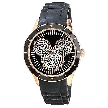Disney Wrist Watch - Silicon Mickey Mouse Icon - Black and Gold