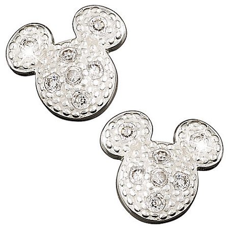 Disney Earrings - Sterling Silver Pavé Mickey Mouse Icon