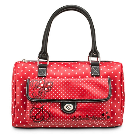 Disney Purse Bag - Minnie Mouse Polka Dot Barrel Bag - Red
