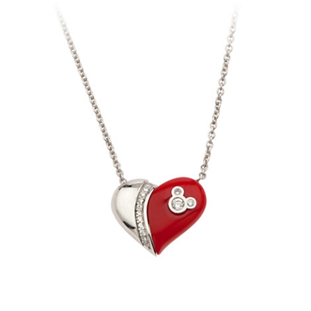 Disney Necklace - Magnetic Mickey Mouse Heart by Petra Azar - Red