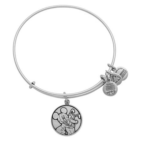 Disney Alex And Ani Charm Bracelet Mickey Mouse Pluto Silver