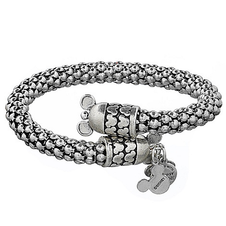 Disney Alex And Ani Bracelet Mickey Mouse Metal Wrap Silver