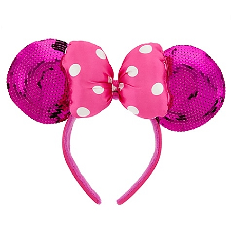 Disney Headband Ears Hat Hot Pink Sequined Minnie Mouse