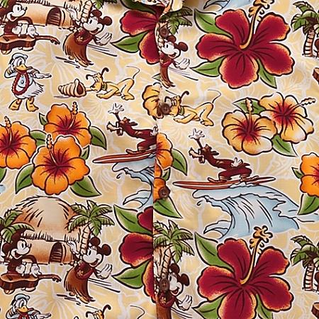 c58f0524 Disney Shirt for Men - Hawaiian Surf and Sand - Mickey Mouse - Yellow