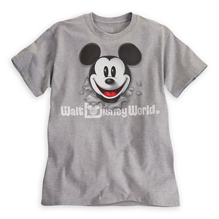 Disney Shirt for Adults - Mickey Mouse Peek A Boo Tee - Gray