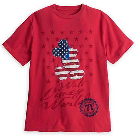 Disney Shirt for Men - Mickey Mouse Stars and Stripes Tee - Red