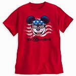 Disney Shirt for Adults - Mickey Mouse Americana Tee - Red