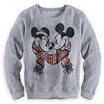 Disney Sweater for Women - Mickey and Minnie Mouse Scarf - Gray