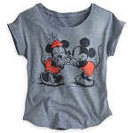 Disney Shirt for Women - Mickey and Minnie Mouse Fashion Tee - Grey