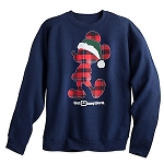 Disney Sweatshirt for Adults - Holidays Plaid Santa Mickey Mouse