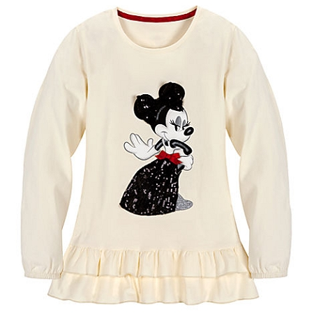 Disney Shirt for GIRLS - Classic Minnie Mouse Ruffles - White