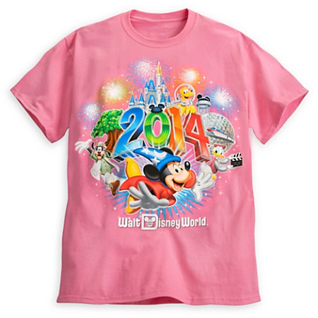 Disney Shirt for Adults - 2014 Sorcerer Mickey and Friends Tee - Pink