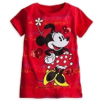 Disney Shirt for Girls - Minnie Mouse Tee - Hearts and Glitter - Red