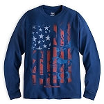 Disney Shirt for Adults - Mickey Mouse Flag Long Sleeve Tee - Blue