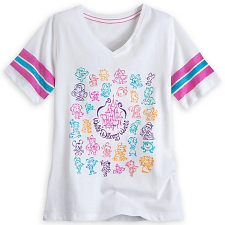 Disney Shirt for Girls - Colorful Characters V-Neck Tee - Disney World