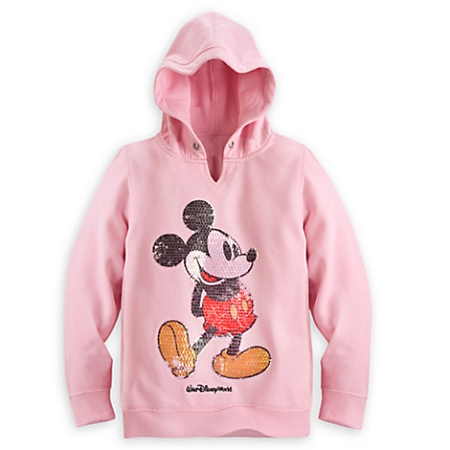 e2d2112e84 Disney Sweatshirt for Girls - Mickey Mouse Sequined Hoodie - Pink