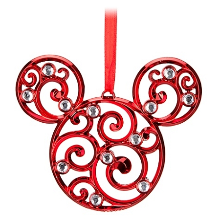 Disney Christmas Ornament - Bohemian Filigree Mickey Mouse - Red