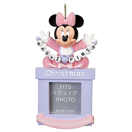 Disney Christmas Photo Frame Ornament - Baby Minnie First Christmas