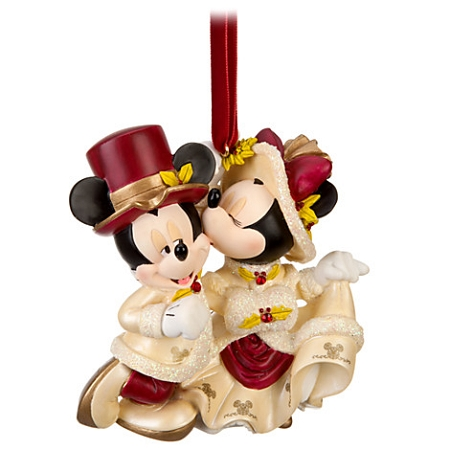 disney christmas ornament victorian minnie and mickey mouse kiss - Mickey And Minnie Christmas Decorations
