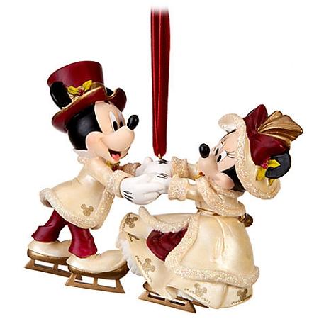 disney christmas ornament victorian minnie and mickey mouse skating - Ice Skating Christmas Ornaments