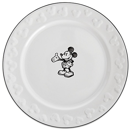 Disney Dinner Plate - Gourmet Mickey Mouse Icon - Black and White