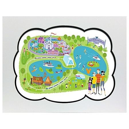 picture regarding Printable Maps of Disney World identify Disney Shag Map - 40th Anniversary Walt Disney Earth Map High-class Print