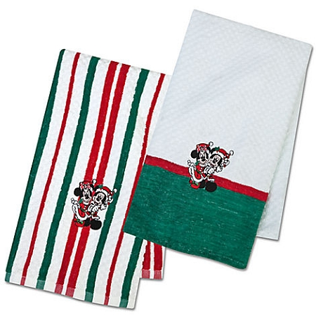 Disney Kitchen Towel Set - Christmas Holiday Mickey and Minnie Mouse