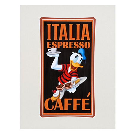 Disney Art Print - Donald Duck Italia Espresso - by Brian Blackmore