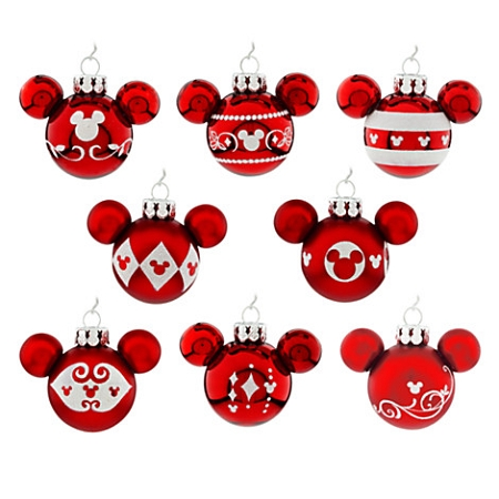 disney christmas ornament set mini mickey mouse ears red
