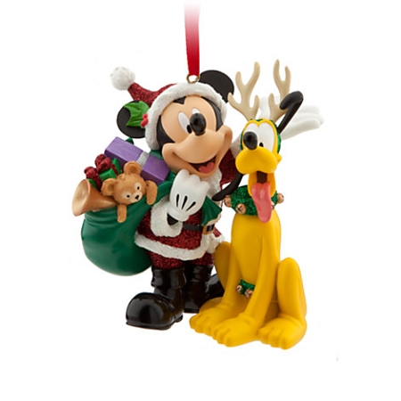 Disney Christmas Ornament - Santa - Mickey Mouse and Pluto