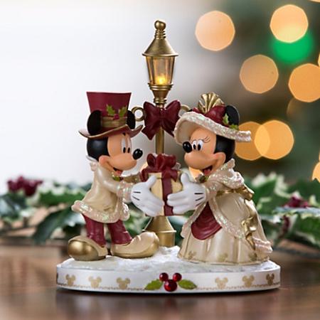 Disney Christmas Figurine - Mickey & Minnie Mouse Light-Up Victorian