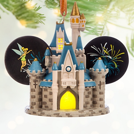 Disney Ears Hat Ornament - Cinderella Castle with Fireworks - Light Up